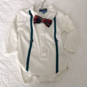 Andy and Evan body suit with bow tie & suspenders